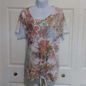 Short Sleeve Floral Print Burnout Top - No Brand T
